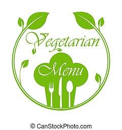 cappello, cerchio, chef, coltelleria, foglie