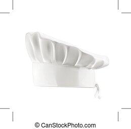 cappello, chef, bianco