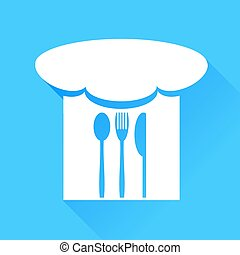 cappello chef, forchetta, coltello, cucchiaio