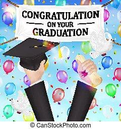 cappello, congratulazioni, diploma, bandiera, graduazione