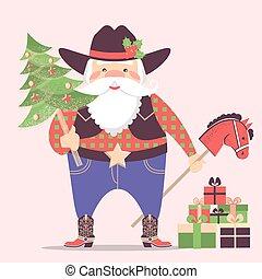 cappello cowboy, claus, illustrazione, regali, occidentale, santa, vacanza, .vector, natale