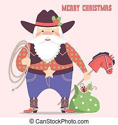 cappello cowboy, claus, illustrazione, regali, occidentale, santa, vacanza, .vector, scheda natale