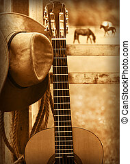 cappello cowboy, e, guitar.american, musica, fondo