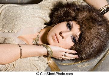 cappello, donna, pelliccia, bello