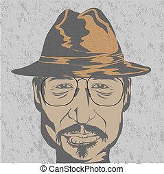 cappello, giovane, glasses., uomo