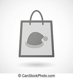 cappello, icona, shopping, santa, borsa