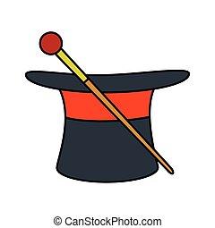 cappello, mago, circo, bacchetta