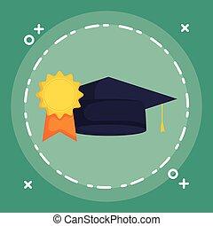 cappello, medaglia, graduazione, premio