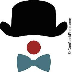 cappello, naso, pagliaccio