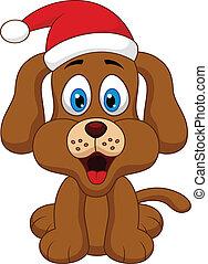 cappello natale, cane, rosso, cartone animato