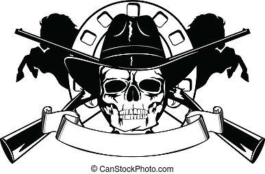 cappello nero, cranio