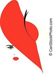 cappello, ragazza, rosso