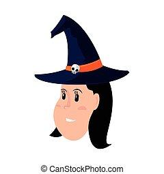 cappello, ragazza, strega, faccia