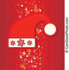 cappello santa, su, sfondo rosso