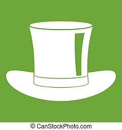 cappello, seta, verde, icona