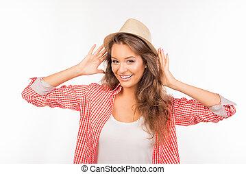 cappello, sorridere felice, ragazza