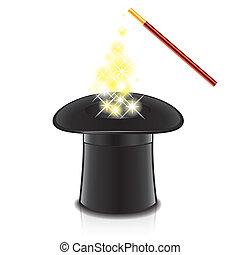 cappello, vettore, magia, illustrazione, bacchetta