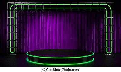 cappio, lithts, su, neon, palcoscenico