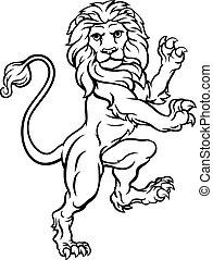 cappotto, araldico, braccia, cresta, leone, rampant