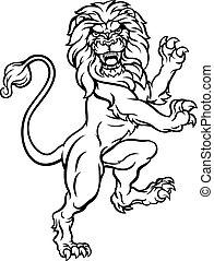 cappotto, araldico, cresta, braccia, leone