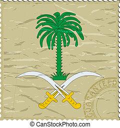 cappotto, braccia, saudita, vecchio, francobollo, arabia