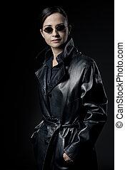 cappotto cuoio, agente, nero, attraente, femmina