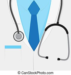 cappotto, dottori, laboratorio, stetoscopio, completo, o