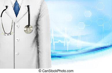 cappotto, illustrazione medica, vettore, laboratorio, fondo, dottore, bianco, stethoscope.