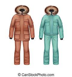 cappotto, inverno, pantaloni