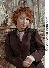 cappotto, legno, vendemmia, obsoleto, retro, fondo, haired, ritratto, agains, rosso, donne