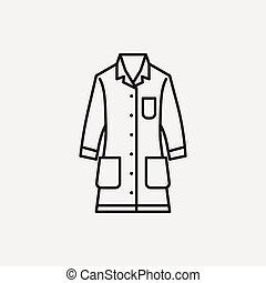 cappotto, linea, laboratorio, icona