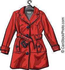 cappotto, rosso, pioggia