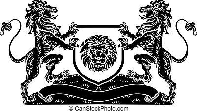 cappotto, scudo, leone, cavaliere, braccia, cresta, araldico
