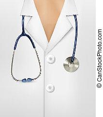 cappotto, su, illustrazione, vettore, laboratorio, dottori, chiudere, bianco, stethoscope.