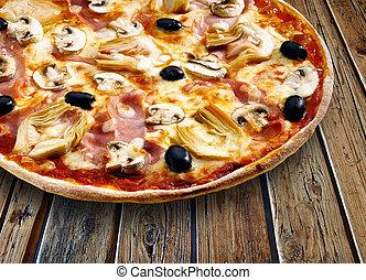 cappriciosa, 木製である, textured, ピザ, テーブル