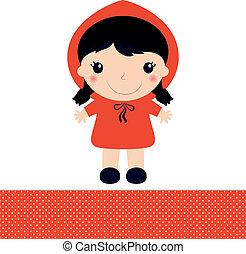 cappuccetto rosso, isolato, bianco