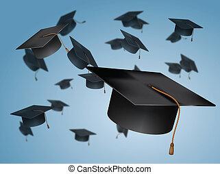 cappucci graduazione, lanciare, aria