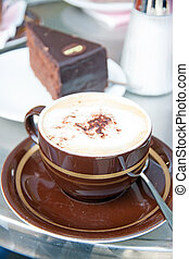 Cappuccino And chocolate cake