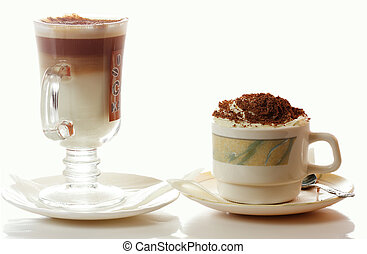 Cappuccino and latte coffee