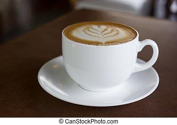 cappuccino, art, coffee., tasse, latte, ou