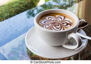 cappuccino, coffee., latte, ou
