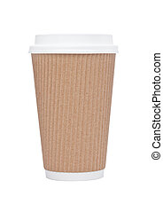 Cappuccino Coffee paper cup for takeaway on white