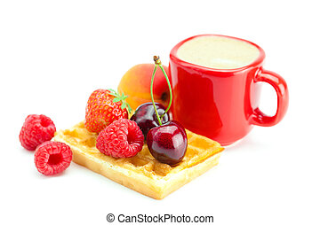cappuccino cup, waffles, apricot, cherries, strawberries and raspberries isolated on white