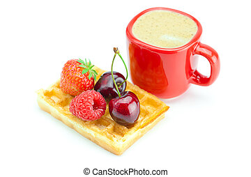 cappuccino cup, waffles, cherries, strawberries and raspberries isolated on white