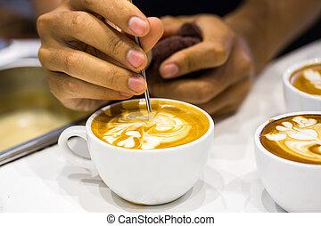 cappuccino, en, latte, kunst
