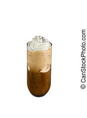 Cappuccino ice cream isolated white background