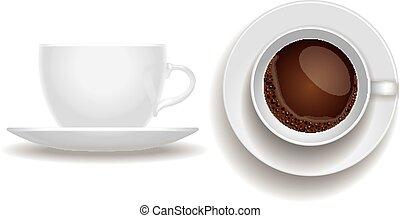 cappuccino, isolated., vista., lato, tazza, espresso, caffè, cima