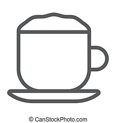 Cappuccino line icon, coffee and cafe, cup sign vector graphics, a linear pattern on a white background, eps 10.