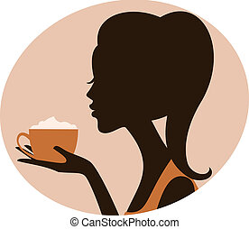 Cappuccino Moment - Illustration of a beautiful woman...