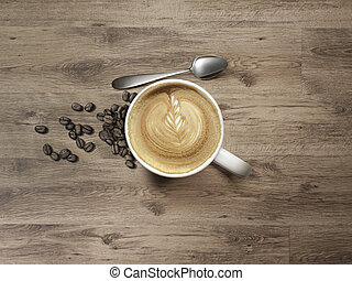 cappuccino Mug with spoon and coffee bean on Wooden Table